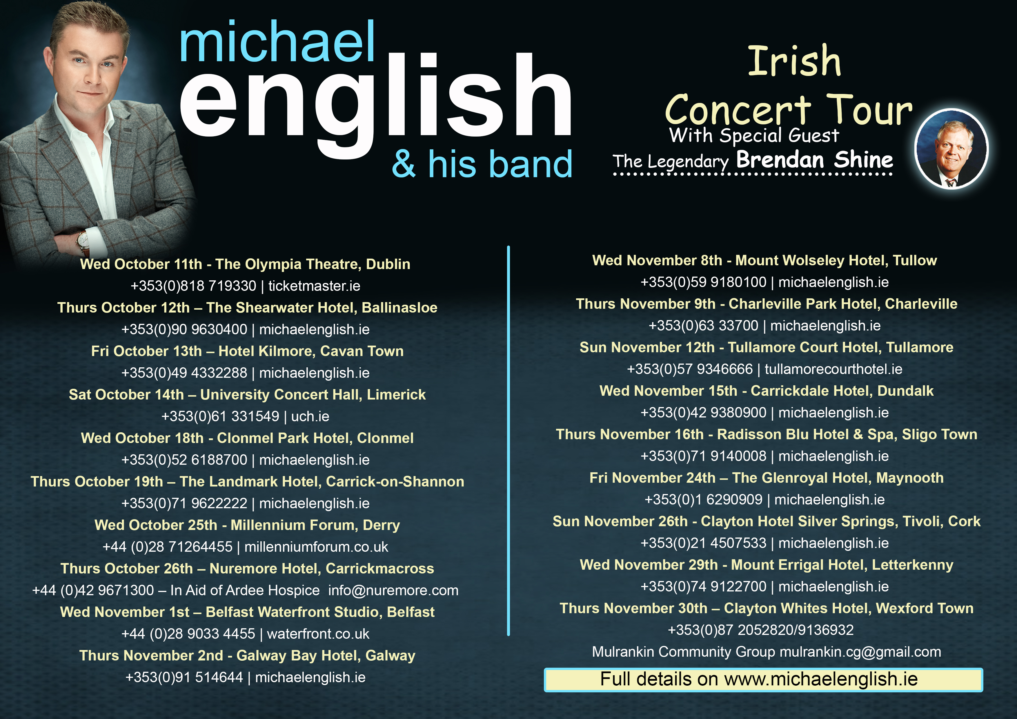 michael english – irish concert tour oct/nov 2017 michael english